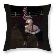 July 4th Rodeo Hispanic Female Rider Charreada Chandler Arizona 1999-2014 Throw Pillow