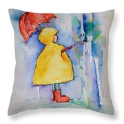 Umbrella Boy II Throw Pillow