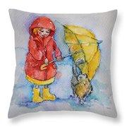 Umbrella Girl With A Kitty Throw Pillow