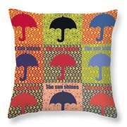 Umbrella In Pop Art Style Throw Pillow by Tommytechno Sweden