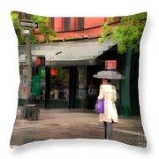 The Purple Bag - New York City In The Rain Throw Pillow