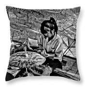 Umbrella Maker Bw Throw Pillow