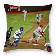 Umbrella Man At Royals Baseball Throw Pillow