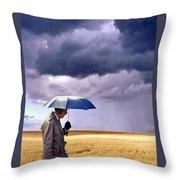 Umbrella Man In Kansas Wheat Field Throw Pillow