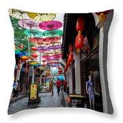 Umbrella Street Throw Pillow