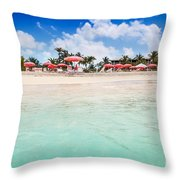 Umbrellas And Chairs On Grace Bay Beach Throw Pillow