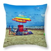 Umbrellas At The Beach Throw Pillow