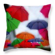 Umbrellas In The Mist Throw Pillow