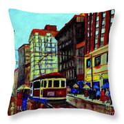 Umbrellas In The Rain Couples Stroll St.catherine Street Downtown Montreal Vintage  City Scene  Throw Pillow