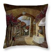 Un Bicchiere Sotto Il Lampione Throw Pillow by Guido Borelli