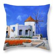 un mulino in Grecia Throw Pillow