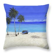 Una Barca Blu Throw Pillow