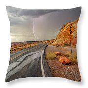 Uncertainty - Lightning Striking During A Storm In The Valley Of Fire State Park In Nevada. Throw Pillow