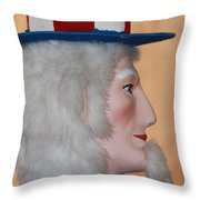 Uncle Sam Closeup Red White And Blue Throw Pillow