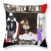 Uncle Sam Richard Nixon Mask Nuns Sitting Child Collage 2013 Throw Pillow