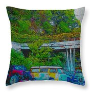 Uncle Tom's Toybox Painted 2 Throw Pillow