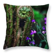 Uncurling Fern And Flower Throw Pillow
