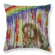 Under A Crying Rainbow Throw Pillow
