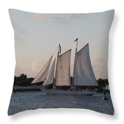 Under Full Sail Throw Pillow