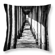 Under Huntington Beach Pier Black And White Picture Throw Pillow