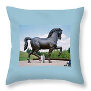 Under Leonardo's Horse Throw Pillow