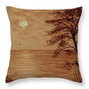 Under Moonlight Original Coffee Painting Throw Pillow