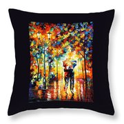 Under One Umbrella - Palette Knife Figures Oil Painting On Canvas By Leonid Afremov Throw Pillow