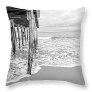 Under The Boardwalk Black And White Throw Pillow