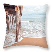 Under The Boardwalk Salsibury Beach Throw Pillow