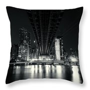 Under The Bridge - New York City Skyline And 59th Street Bridge Throw Pillow
