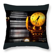Under The Famous Clock Throw Pillow