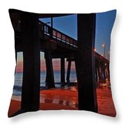 Under The Gulf State Pier  Throw Pillow by Michael Thomas