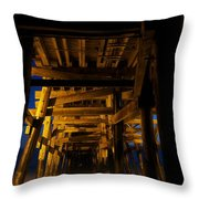 Under The Pier At Night Throw Pillow