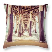 Under The Pier In Orange County California Picture Throw Pillow by Paul Velgos