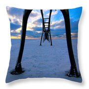 Under The Pier In St. Joseph At Sunset Throw Pillow