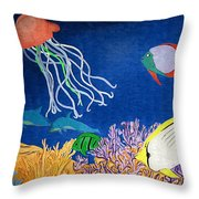 Under The Sea Mural 1 Throw Pillow