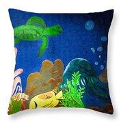 Under The Sea Mural 2 Throw Pillow