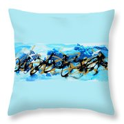 Under The Sea Original Abstract Blue Gold Painting By Madart Throw Pillow