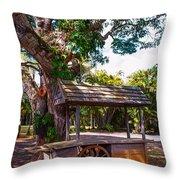 Under The Shadow Of The Tree. Eureka. Mauritius Throw Pillow