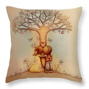 Underneath The Apple Tree Throw Pillow by Karin Taylor