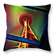 Underneath The Space Needle Throw Pillow