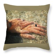 Underwater Hands Throw Pillow