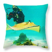 Underwater Photographer And Stingray Throw Pillow
