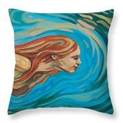 Underwater Swimmer Throw Pillow