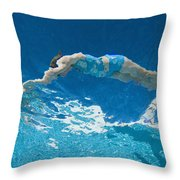 Underwater View Of Woman Diving Into Throw Pillow