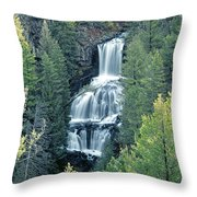 109008-undine Falls In Yellowstone Throw Pillow