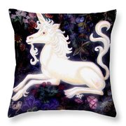 Unicorn Floral Throw Pillow by Genevieve Esson