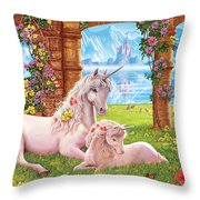 Unicorn Mother And Foal Throw Pillow