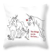 Unicorn Valentines Card Throw Pillow
