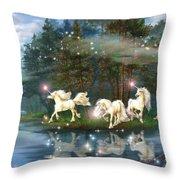 Unicorn Wizard Pool Throw Pillow
